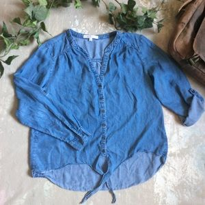 Cleo Chambray Tie Blouse